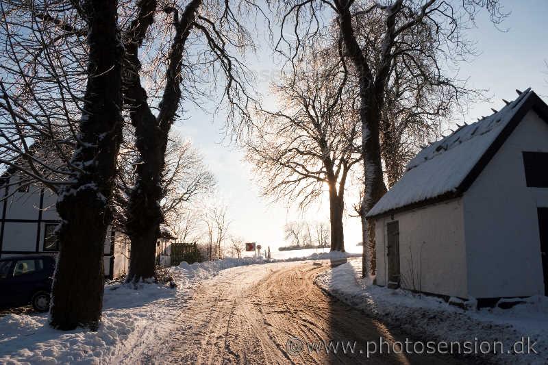 Vintersol over sneen på Eriksholmvej
